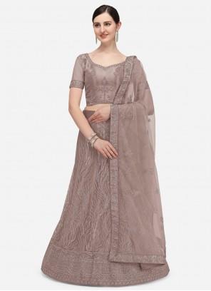 Net Lavender Embroidered A Line Lehenga Choli