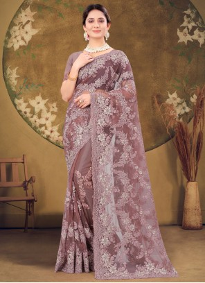 Net Lavender Embroidered Designer Saree