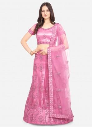 Net Lehenga Choli in Hot Pink