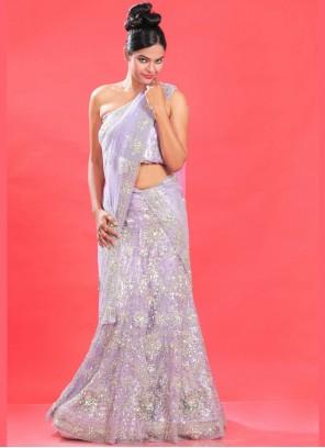Net Lehenga Choli in Lavender