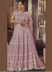 Net Mauve  Patch Border Lehenga Choli