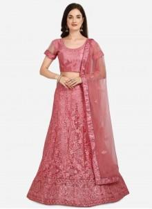 Net Mehndi Pink A Line Lehenga Choli