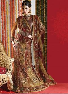 Net Multi Colour Embroidered Lehenga Choli