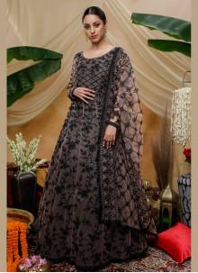 Net Multi Colour Resham Designer Gown