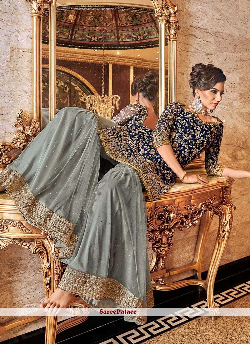 Net Navy Blue Embroidered Designer Salwar Suit