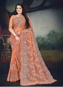 Net Resham Orange Traditional Saree