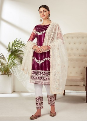 Net Pant Style Suit in Magenta