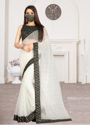 Net Party White Classic Saree