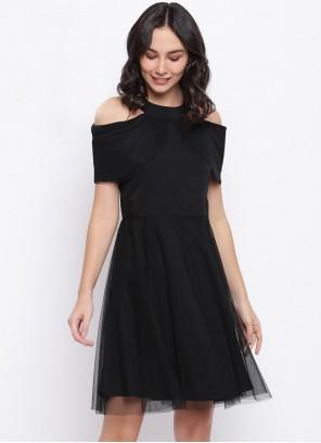 Net Party Wear Kurti in Black