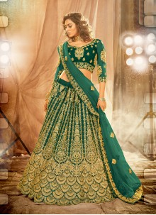 Net Patch Border Lehenga Choli in Green