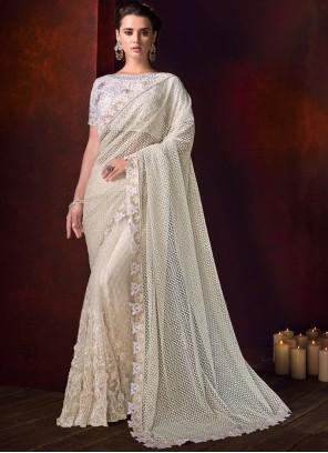 Net Patch Border Off White Classic Designer Saree