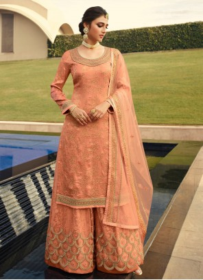Net Peach Embroidered Designer Palazzo Suit