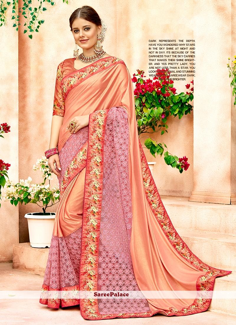 Net Peach Embroidered Designer Saree