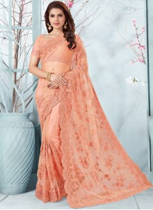Net Peach Embroidered Designer Traditional Saree