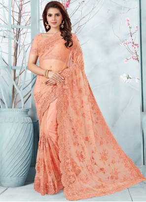 Net Peach Embroidered Designer Traditional Saree