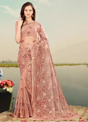 Net Peach Resham Designer Saree