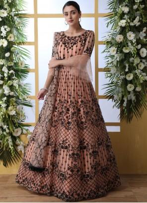 Net Peach Stone Work Designer Gown