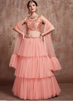Net Peach Zari Trendy Lehenga Choli