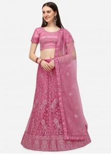 Net Pink A Line Lehenga Choli