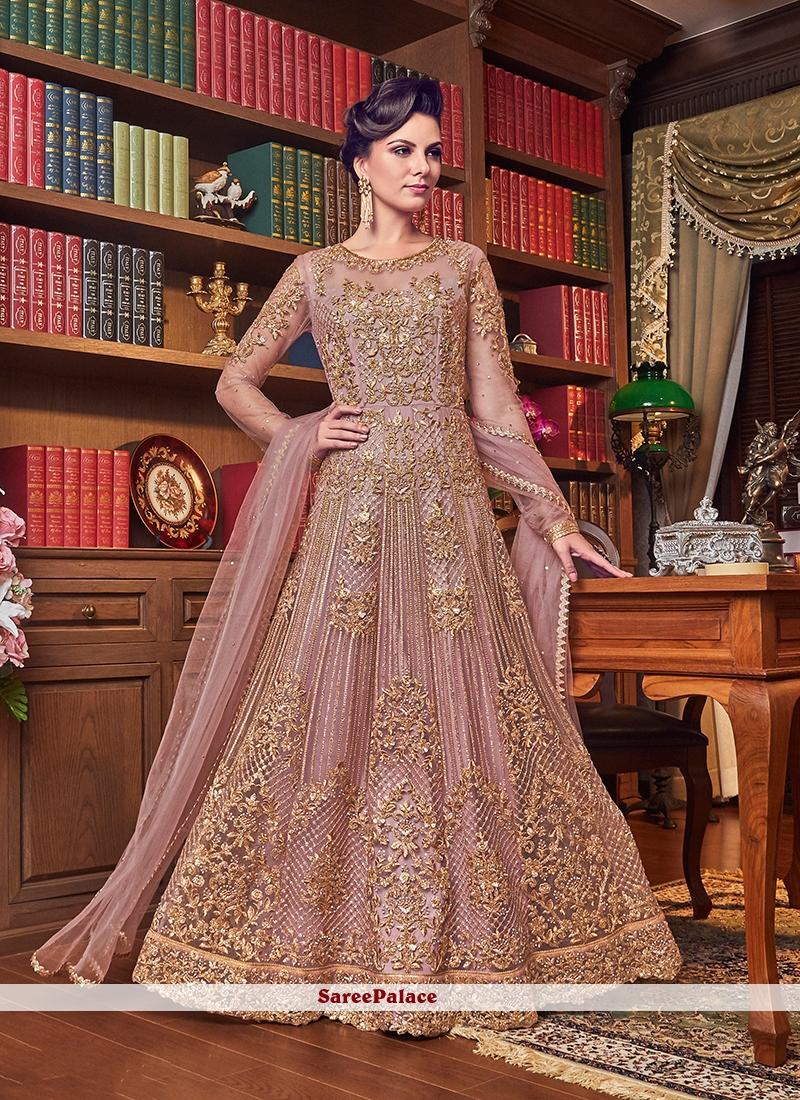 Net Pink Anarkali Salwar Kameez