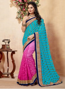 Net Pink and Teal Half N Half  Saree