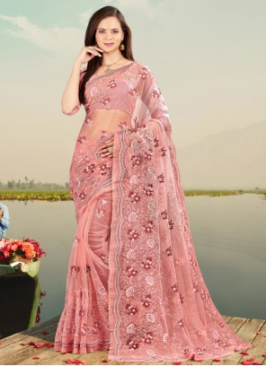 Net Pink Embroidered Designer Saree