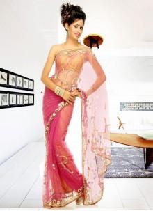 Net Pink Mehandi & Sangeet Designer Saree