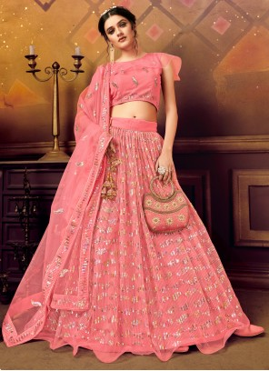 Net Pink Embroidered A Line Lehenga Choli