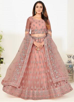 Net Pink Embroidered A Line Lehenga Choli
