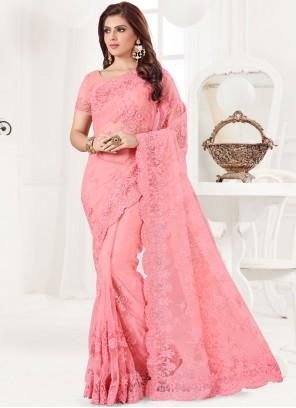 Net Pink Embroidered Classic Designer Saree