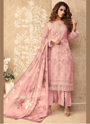 Net Pink Embroidered Designer Palazzo Suit