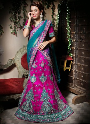 Net Pink Embroidered Sangeet Lehenga Choli