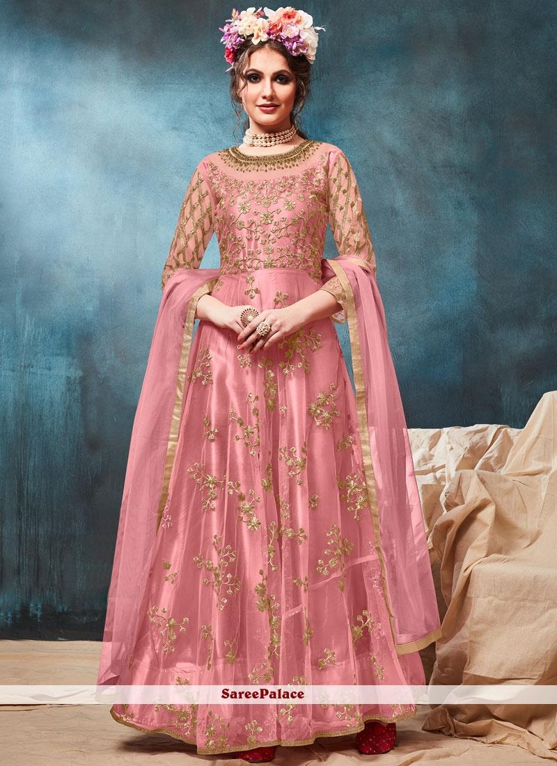 Net Pink Floor Length Anarkali Suit