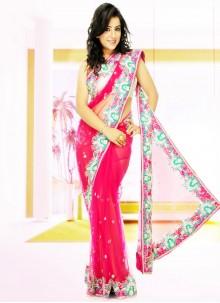 Net Pink Handwork Designer Saree