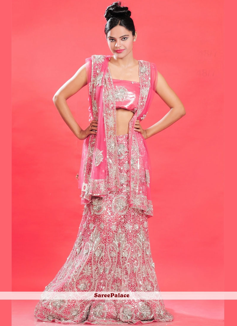 bd18c751532a28 Buy Net Pink Lehenga Choli Online