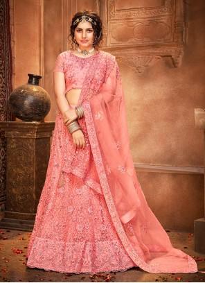 Net Pink Patch Border Lehenga Choli