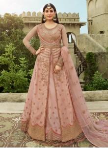 Net Pink Resham Floor Length Anarkali Suit