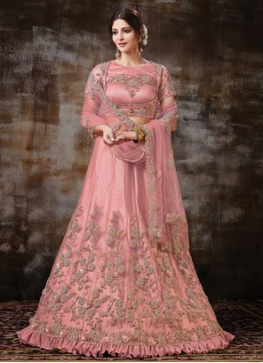 Net Pink Resham Lehenga Choli