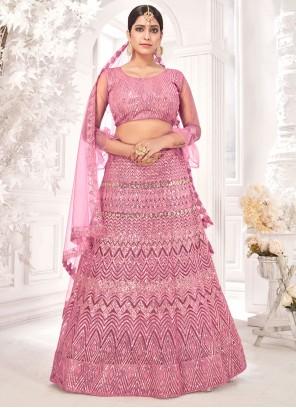 Net Pink Sequins Lehenga Choli