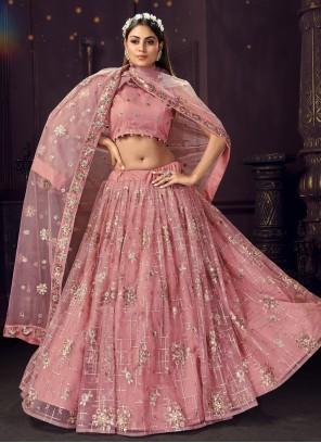 Net Pink Thread Bollywood Lehenga Choli
