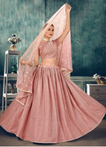 Net Pink Thread Lehenga Choli