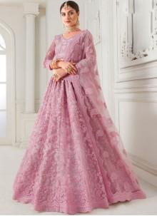 Net Pink Trendy A Line Lehenga Choli