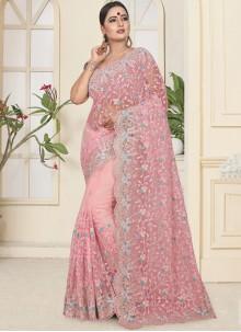 Net Pink Trendy Saree