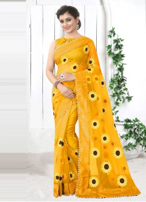 Net Printed Saree in Yellow
