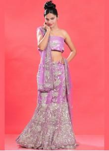 Net Purple Embroidered Lehenga Choli