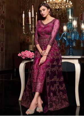 Net Purple Sequins Floor Length Anarkali Suit