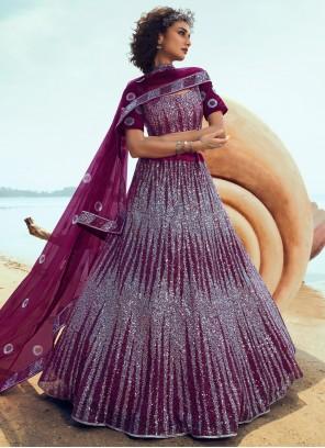 Net Purple Sequins Lehenga Choli