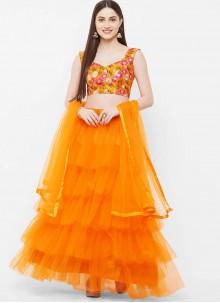 Net Readymade Lehenga Choli in Orange