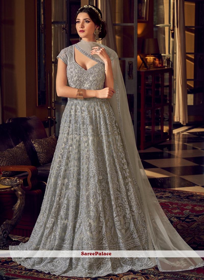 Net Reception Floor Length Grey Anarkali Suit