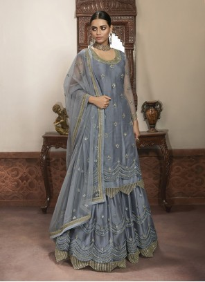 Net Reception Grey Trendy Lehenga Choli